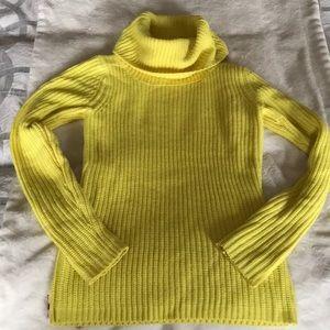 Bright yellow cowl neck sweater